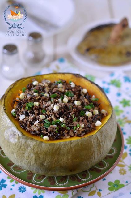 Pieczona dynia nadziewana wołowiną i dzikim ryżem, Baked pumpkin stuffed wild rice and beef