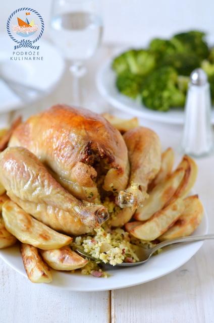Pieczony kurczak faszerowany kaszą jaglaną, Roast chicken with millet stuffing