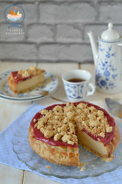 Sernik rabarbarowy z imbirową kruszonką, Rhubarb cheesecake with ginger crust