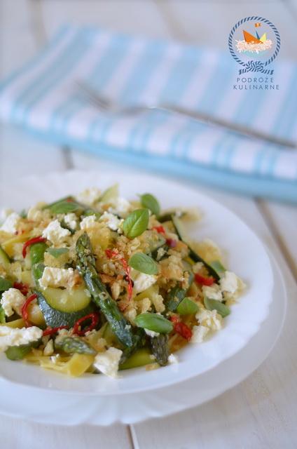 Tagliatelle z cukinią i szparagami, Asparagus and zucchini tagliatelle