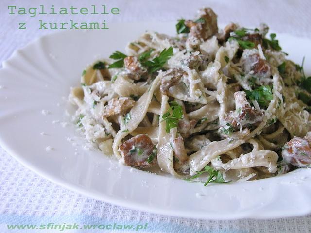 Tagliatelle z kurkami, Tagliatelle with chanterelle mushrooms