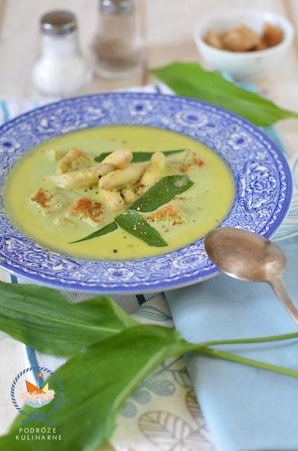 Krem ze szparagów z niedźwiedzim czosnkiem, Cream of asparagus and wild gorlic soup